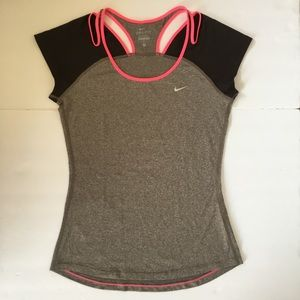 Nike Dri-Fit Open Shoulder Fitted Short Sleeve Top
